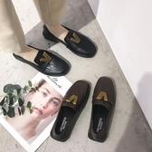 豆豆鞋英倫風復古樂福鞋女低粗跟懶人豆豆鞋原宿風方頭小皮鞋單鞋子聖誕交換禮物