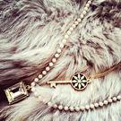 新款時尚百搭方寶石珍珠項鍊 飾品