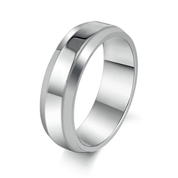 316L醫療鋼 弧形亮面戒指-銀 防抗過敏 不退色