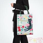 大容量單肩包環保防水購物袋字母印花手提包女包包袋【聚可愛】
