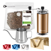 CoFeel凱飛鮮烘豆衣索比亞耶加雪夫淺烘焙咖啡豆半磅+手搖磨豆機+細嘴壺+專利濾泡咖啡架(SO0060XL)