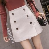 秋冬新款正韓高腰顯瘦雙排扣純色A字裙毛呢半身裙女