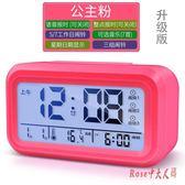 學生兒童創意小鬧鐘臥室靜音夜光時尚簡約電子床頭座鐘個性時鐘LXY3435 Rose中大尺碼