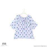 【INI】甜美亮眼、波點印花傘狀澎澎袖上衣.灰藍色