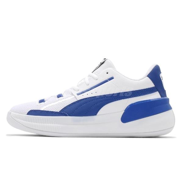 Puma 籃球鞋 Clyde Hardwood Team 男鞋 白 藍 低筒 彪馬 運動鞋【ACS】 19445405