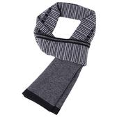 羊毛圍巾-商務條紋拼色針織男披肩3色73wh68【時尚巴黎】