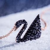黑天鵝925銀項鍊女潮網紅純銀鎖骨輕奢小眾設計簡約氣質玫瑰金 衣間迷你屋