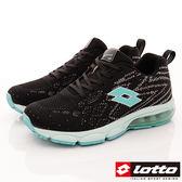 【LOTTO】編織氣墊跑鞋款-LT8AWR6595-黑/湖水綠-女段-0