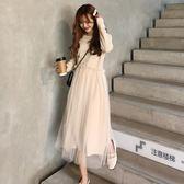 春季女裝韓版氣質純色甜美拼接網紗中長款打底連身裙長裙學生裙子