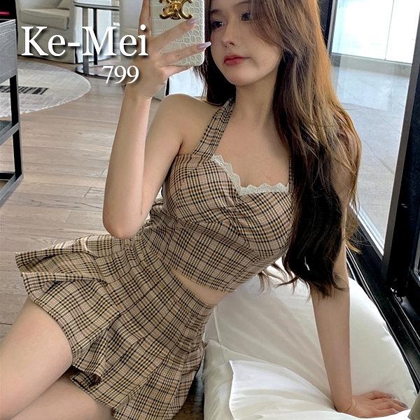 克妹Ke-Mei【ZT65918】NUTS復古經典格紋吊頸馬甲+百摺裙套裝