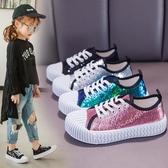 兒童板鞋女童鞋春季新款小學生亮片休閒鞋時尚餅干中大童布鞋 快速出貨