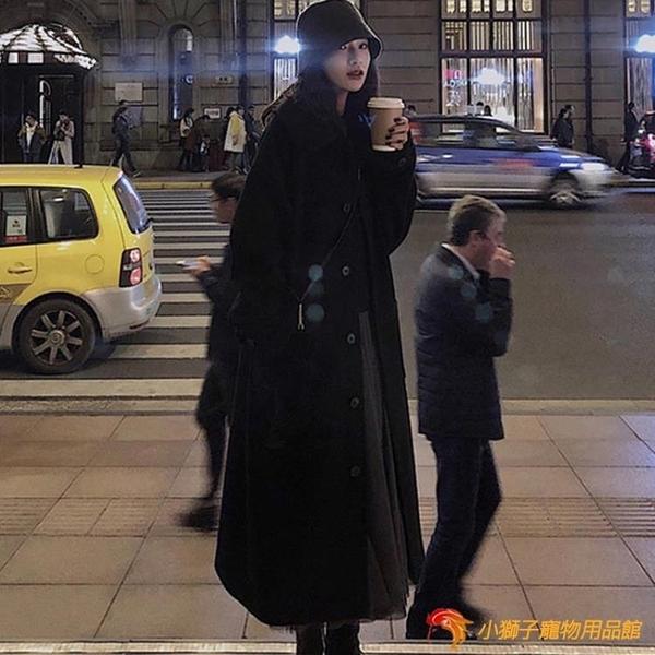 羊絨呢子大衣女秋冬黑色過膝毛呢外套中長款加厚【小獅子】