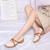 女鞋舒適時尚新款韓版百搭交叉帶淺口單鞋子女粗跟中跟小皮鞋 qf4884【黑色妹妹】