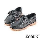 SCONA 全真皮 經典手工綁帶帆船鞋 黑色 7237-1