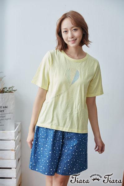 【Tiara Tiara】熱氣球飛揚短袖上衣T恤(綠/黃) 新品穿搭