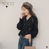 東京著衣【YOCO】浪漫輕羽造型花瓣羽毛V領珍珠釦上衣(191380)