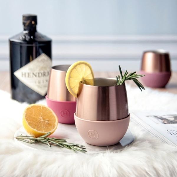 HYDY 時尚蛋型杯 拿鐵-蜜粉金 240ml +山山來茶鐵盒組
