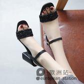 涼鞋/一字扣帶露趾高跟女夏新款時尚亮片粗跟仙女鞋韓版羅馬鞋「歐洲站」