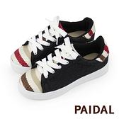 Paidal 咖條紋跳色拼接黑牛仔綁帶休閒鞋