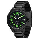 POLICE 暗夜狙擊雙眼時尚腕錶-綠x黑