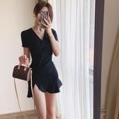緊身洋裝夏季大碼女裝性感V領短袖緊身顯瘦開叉包臀荷葉邊連身裙 芊墨左岸