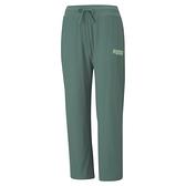 PUMA Modern Basics 女款綠色休閒螺紋寬長褲-NO.58593845