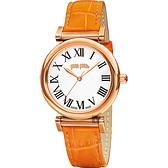 Folli Follie Obsession 優雅古典羅馬時尚腕錶-白x橘/34mm WF14R029SPS-OR