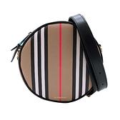 【台中米蘭站】全新品 BURBERRY Louise 格紋帆布拚牛皮手拿斜背兩用圓餅包(8027293-卡其)