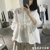 棉麻上衣女夏裝寬鬆五分袖娃娃衫高腰設計感小眾亞麻燈籠袖襯衫 創意家居