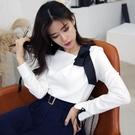 歐媛韓版 秋裝新款時尚氣質修身不對稱斜領系帶長袖韓國襯衫 上衣女