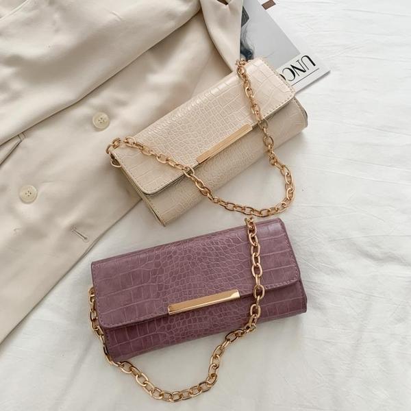 包包女2021春夏新款潮時尚鏈條鱷魚紋小方包法國小眾單肩包腋下包 【夏日新品】