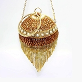 晚宴包 宴會名媛斜背側背金色流蘇包包時尚圓球形迷妳歐美晚宴水鑽手提包 晟鵬國際貿易
