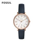 FOSSIL Jacqueline 賈姬鑲鑽黑色皮革手錶 36mm 女 ES4291
