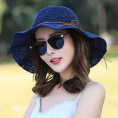 帽子女夏季草帽小清新百搭遮陽帽可折疊太陽帽大沿防曬沙灘帽涼帽 東京衣櫃