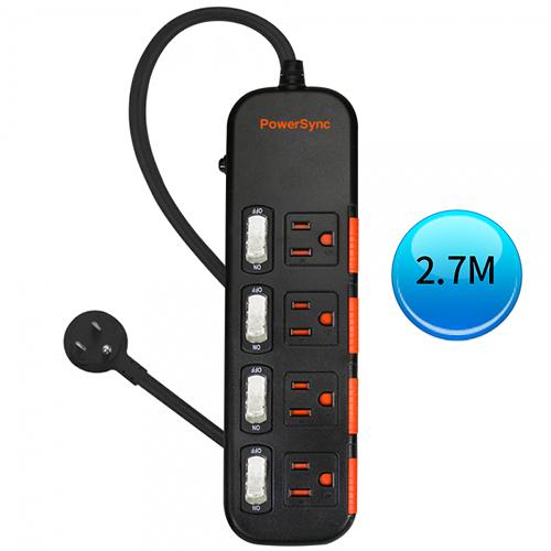 (最新安規款) PowerSync 群加 四開四插滑蓋防塵防雷擊延長線 2.7M (TS4X0027)