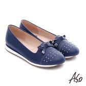 A.S.O 樂福氣墊 真皮鉚釘蝴蝶結奈米氣墊鞋  藍