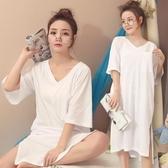 可愛棉質胖MM睡衣女夏季天睡裙學生夏季孕婦大呎碼性感寬鬆長裙