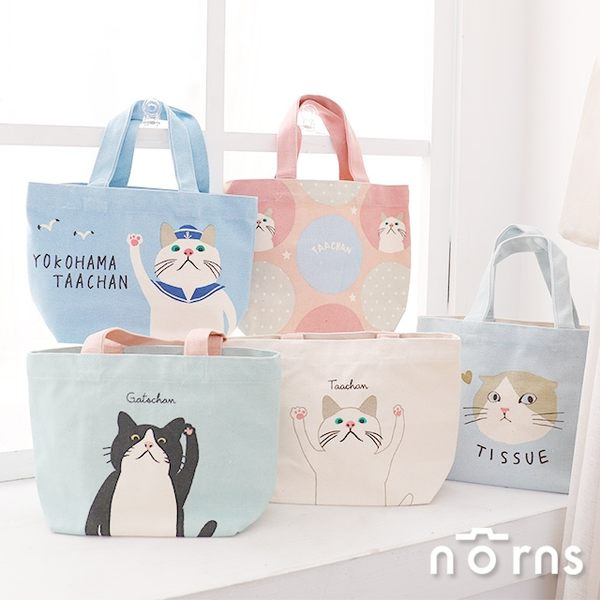 【日貨動物手提袋M號 P4】Norns Taachan貓咪 Bullton法國鬥牛犬 雜貨帆布包 便當袋 購物袋帆布袋