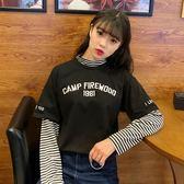 T恤女秋原宿bf風學生寬鬆假兩件條紋長袖的上衣潮