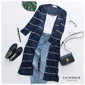 Catworld 正韓空運*線條長版針織罩衫外套【15003657】‧F