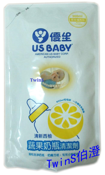 優生寶寶- 蔬果奶瓶清潔劑補充包900ml【清新西柚】【TwinS伯澄】
