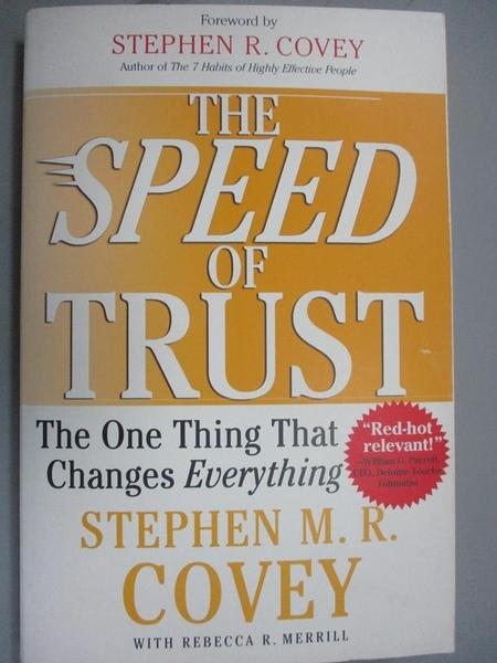 【書寶二手書T1/財經企管_ZHI】The Speed Of Trust_Stephen M. R. Covey