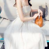 性感露肩高腰仙女氣質吊帶連衣裙中長款chic網紗裙吾本良品