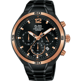 ALBA 雅柏 IG廣告款 型男計時錶-黑44mm VD53-X353SD(AT3G36X1)