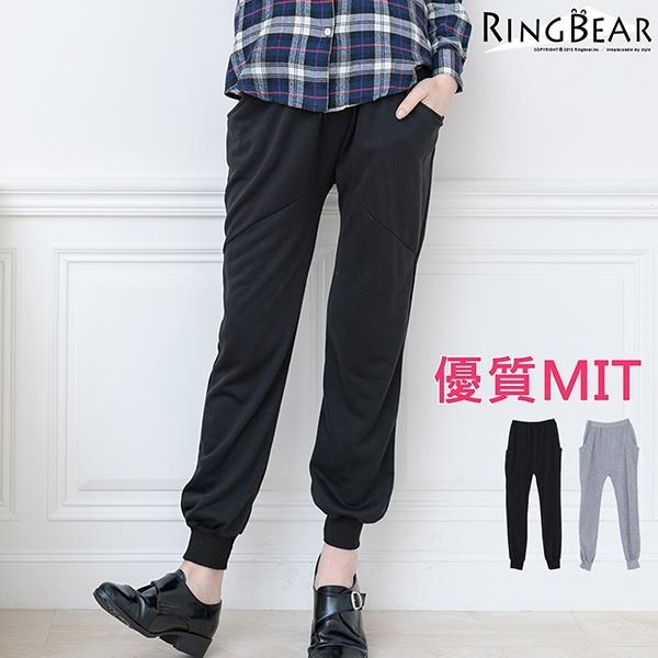 棉褲--運動休閒獨特個性素面前後雙垮口袋拼接大腿羅紋棉質布袋褲(黑.灰XL-4L)-P115眼圈熊中大尺碼