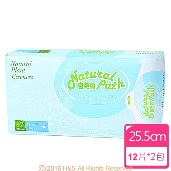 【南紡購物中心】Natural Path自然好漢方草本衛生棉(日用型)(12片/包)2入組