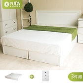純白色 房間組三件組 單大3.5尺 (床頭片+加厚六分床底+床頭櫃) 新竹以北免運費【YUDA】