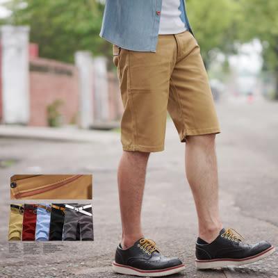 短褲 後口袋皮革線條素面休閒短褲【N9953J】