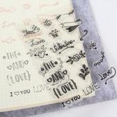 【BlueCat】英文LOVE愛心玫瑰透明矽膠印章