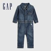 Gap嬰兒 時尚水洗翻領牛仔連身褲 599837-水洗靛藍